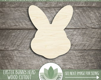 Bunny Head Wood Cutout, Laser Cut Easter Bunny Head Shape, Easter Bunny Decoration, Unfinished Wood For DIY Projects, Many Size Options