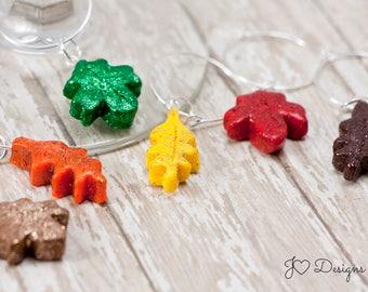 Leaf Wine Charms, Glitter Wine Charms,  Fall Wine Charms, Autumn Wine Charms, Thanksgiving Wine Charms, Polymer Clay Wine Charms, Wine Tags