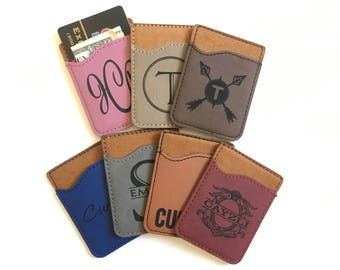 Personalized Cell Phone Card Holder Phone Wallet Monogram Credit Card Holder Card Caddy for Phone ID Credit Card Holder iPhone Phone Pocket