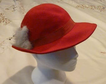 Vintage Wool Ladies Hat - Sus Elle Hat - Made in the USA  - 1960's Hat - Red Hat Society  - Wedding Attire - Costume Wear