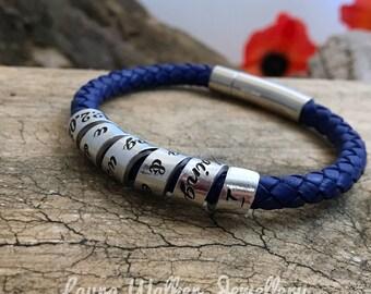 Stamped Secret Message Leather Bracelet, Mens Scroll Bracelet, Mens Leather Bracelet, Father's Day Gift