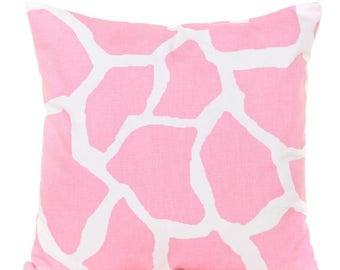 SALE ENDS SOON Pink Animal Print Cotton Throw Pillow Cover, Baby Pink Pillow, Pink Nursery Decor, Girls Room Decor, Pink Pillowcase, Crib Pi