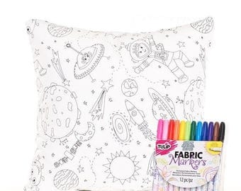SALE ENDS SOON Outer Space Pillow Cover and Fabric Markers, Color Me Pillow Cover, Martians, Coloring for Boys, Boys Room Pillows, Includes