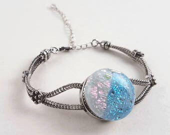 Snap Bracelet with Handmade Fused Dichroic Glass Cabochon