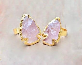 Arrowhead, Pink Quartz Ring, Adjustable, 24k Gold Plated, boho, gifts for her, trendy rings, spiritual rings, goddess rings,