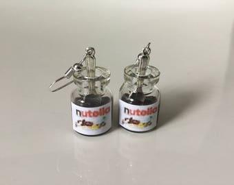 Nutella jar and spoon earrings