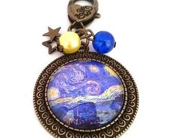 Key charm sac• Vincent Van Gogh, starry night cabochon bronze • •