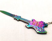 Guitar Knife Key Chain Necklace Iridescent