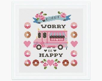 Donut Worry cross stitch pattern, Instant download, Modern cross stitch, Sweet Donut cross stitch pattern, PDF cross stitch 007