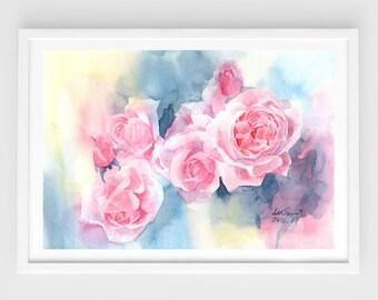 "Original watercolor,dream flowers,flower garden,original painting,8""1x11"",home decor"