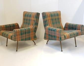 Pair of armchairs french Louis Paolozzi 1950's vintage rockabilly Zol edition