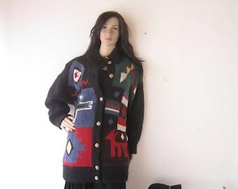 Vintage 80s wool cardigan knit jacket mohair oversize