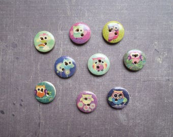 Nice OWL 40 design wood buttons colored 1.5 cm