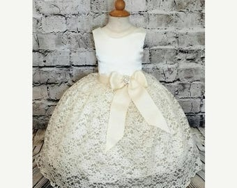 gorgeous custom made lace flower girl dress,rustic lace flower girl dress,ivory lace flower girl dress,baby girl baptism dress,flower girls