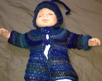 Pixie with pointy hood crocheted Cardigan size 6 months