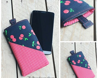 Black & Red Cherry Polka Dot Phone Sleeve, Phone Pouch, Phone Cover, Gift for Her, Treat, Birthday Gift, Gift for Girls