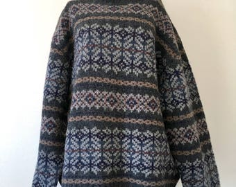 Mens Vintage Woolrich Sweater // Nordic Style Crewneck // Dark Grey Navy Blue Burgundy // Size 2XL