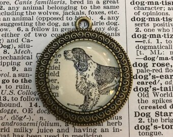 Handmade Vintage Dictionary Dog Necklace - Springer Spaniel