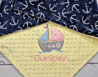 Personalized Minky Baby Blanket-SailBoat baby blanket-Personalized Anchor Minky blanket-Minky Nautical Blanket-Sail boat girl baby blanket