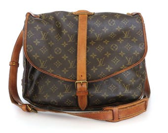 Authentic LOUIS VUITTON Monogram Canvas Leather Saumur 35 Cross Body Bag