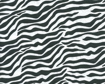 Decoupage Paper Napkins African Modern Zebra Print (1x Napkin) - ideal for Decoupage, Collage, Mixed Media, Crafts