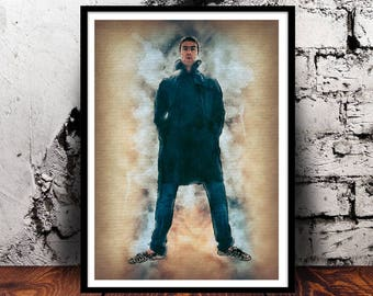 Liam Gallagher watercolour wall art home decor Manchester Indie Britpop Music Oasis Beady Eye A4 print digital art gift for him gift for her
