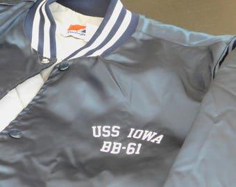 Vintage USS Iowa BB-61 Polyester Bomber Jacket, The Big Stick, The Grey Ghost, Battleship of Presidents, Medium, Los Angeles Museum Souvenir