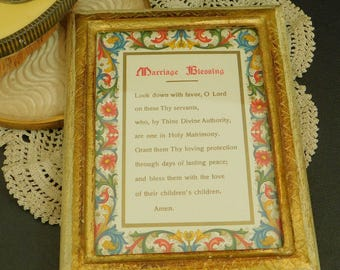 Vintage Marriage Blessing Print, Framed Under Glass, Gold Painted Wood Frame, Gift for Bride and Groom, Made in Italy, Prayer for Family