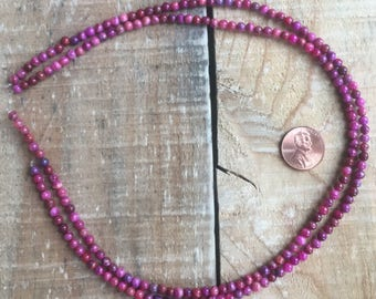 Fuschia Crazy Lace Agate Small 4mm round beads, 16 inch strand