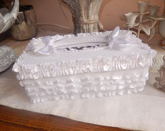 wooden box for handkerrrrchiefs shabby with ruffles of white satin