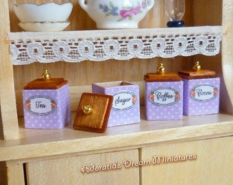 Set of four miniature kitchen canister 1/12 scale. Dollhouse miniature fully artisan. Four uniques sets in four nice colors.