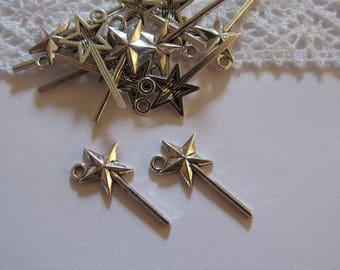 50 charms fairy wand / magic wand Star Silver 26 x 13mm