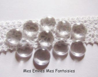 12mm: 50 ° glass cabochons transparent 12mm blank ° ° °