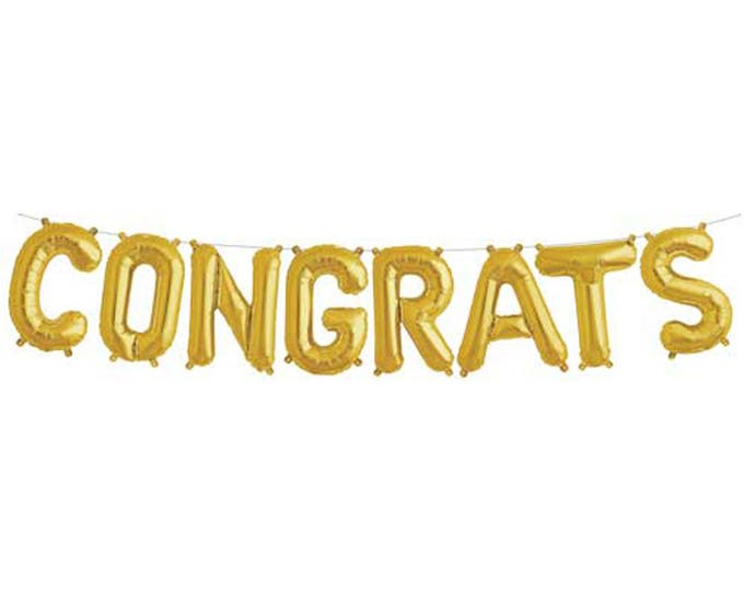Gold CONGRATS Letter Balloon Kit