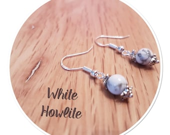 White Howlite Natural Gemstone Earrings