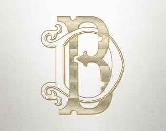 Wedding Invitation Monogram - BD DB - Invitation Monogram - Vintage