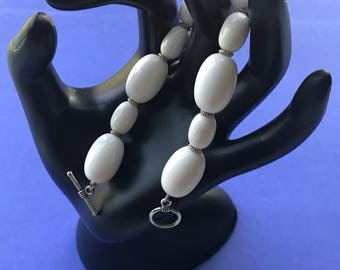 White Glass Beads with Silver Accents Bracelet