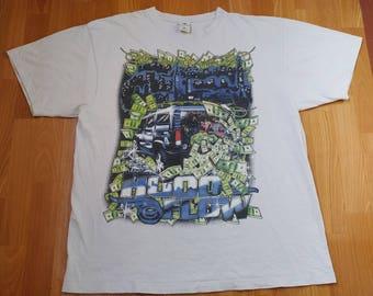 Hood Flow shirt, vintage white neon hustle T3 hip hop t-shirt, 90s hip-hop clothing, gangsta rap, lowrider Los Angeles, chicano size XXL 2XL