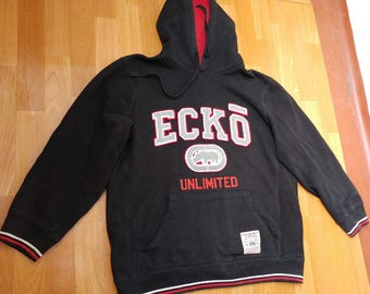 ECKO UNLTD hoodie, black vintage hip hop sweatshirt, old school sweat shirt 90s hip-hop clothing, 1990s, og, gangsta rap, size L Large