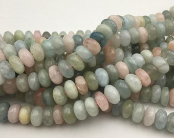 "Morganite Rondelle Smooth Gemstone Loose Beads Size 5x8mm/6x10mm Approx 15.5"" Long per Strand"