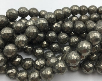 Pyrite Faceted Round Loose Beads 15.5'' Long, Size 6mm/8mm/10mm/12mm. R-F-PYR-0331