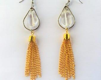 Clear Quartz Earrings with Gold Tassels