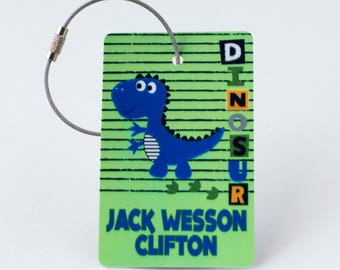 Dinosaur Luggage Tag - FREE SHIPPING, Luggage Tag, Kid Luggage Tag, Baby Shower Gift, Gift Tag, Personalized Baby Gift, Child Gift, Boy Gift