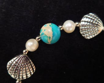 Bracelet shell with cultured pearls and jaspe