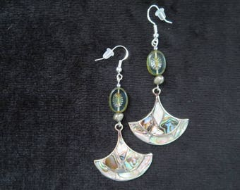 earrings with Baroque pearls pyrite abalone Pearl