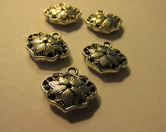 Silver Tone Lotus Blossom Charms, 15mm, Set of 5