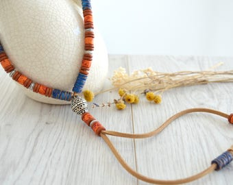 Native American inspired ceramic beaded Necklace, Native American Navajo Leather Jewellery, Ethnic Tribal Greek Ceramic beaded Necklace
