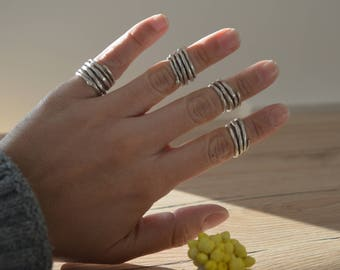 Minimalist Silver Abstract PINKY Rope Ring, Boho Silver Modernist Rope Rings, Silver Band Abstract Jewellery, Affordable Ring, Ring Party