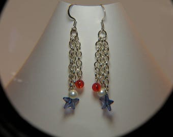Patriotic Chain Dangle Earrings/Fourth of July Jewelry/4th of July Jewelry/Red, White, and Blue Dangle Earrings/Blue Stars