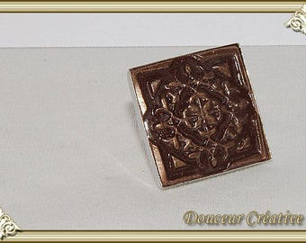 Brown bronze square ring 102009